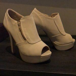 Qupid cream stiletto booties